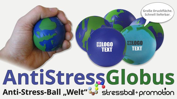 Stressball Anti-Stressball Globus blau grün Werbeartikel bedrucken lassen
